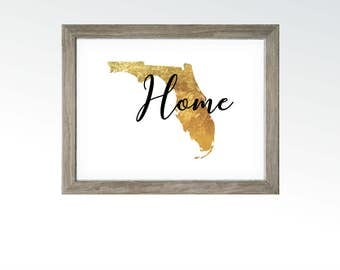 Home Wall Decor - Florida State - Gold Leaf Foil Image - Keys Oranges Everglades Beaches Fishing Disney - DIGITAL DOWNLOAD printable art