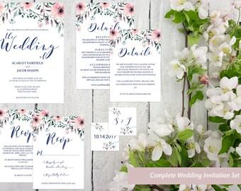 Floral Wedding Invitation Template Flower Wedding Invite Tempate Pink Wedding Invites Printable Wedding Invites PDF Wedding Invitation Set