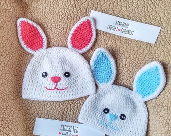 Easter Bunny Hat, Easter Basket, Blue Bunny, Pink Bunny, Easter Baby Photo Prop, Photo Shoot Hat, Little Bunny, Easter