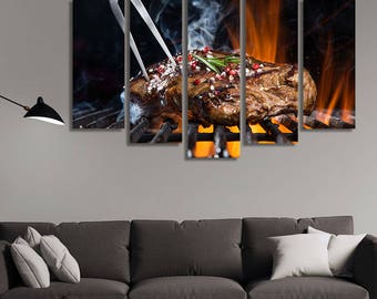 LARGE XL Grilled Beef Steak with Spices Canvas Wall Art Print Home Decoration - Framed and Stretched - 3030