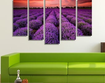LARGE XL Lavender Fields at Sunset Canvas Wall Art Print Home Decoration - Framed and Stretched - 4002