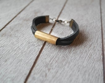 Minimalist Brass Bullet Casing and Leather Bracelet