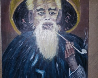 painting,Original smoking old man,large wall painting decor,painting on stretching canvas ready to hang, acrylic painting
