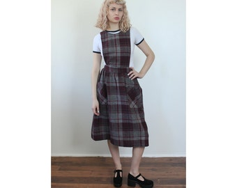 Grunge Plaid Dress // Vintage 90s Midi Plaid Jumper Dress Pinafore - Small