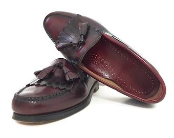 Bass Tassel Loafers / 80s Oxblood Topsiders Men's Size 8 Dress Shoe Made in USA Slip-On Red Loafer Fringe Weejuns Women's 9.5 Men's 8