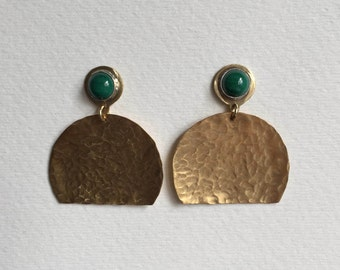 SALE:  Malachite and Brass Disc Earrings