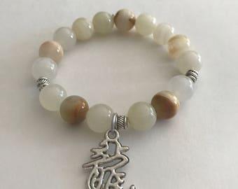 Italian Onyx Gemstone Bracelet, Stretchy Bracelet, Meditation Bracelet, Good Luck Bracelet, Charm Bracelet, Strength Bracelet,