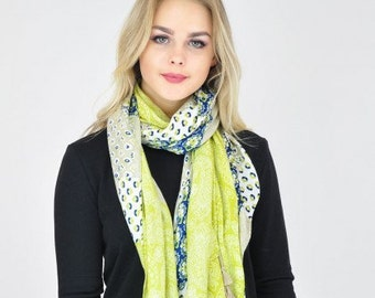 Floral Mint Yellow Scarf / Spring Scarf / Summer Scarf / Womens Scarf / Ladies Scarves / Gift for her / Scarf / Mint Accessories