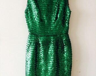 1960s Emerald Green Sequin Mini Dress