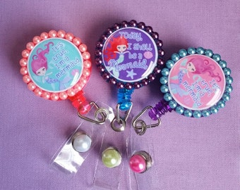 Mermaid and diva Badge Reel Set of 3