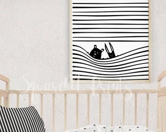 16x20 Prints, Nursery Wall Art, Cute Creatures, Unique Baby Gift, Scandinavian Kids Room Decor, Black and White Animal Print, Stripes Poster