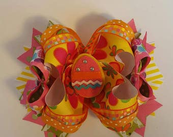 Easter egg boutique stacked hair bow, Easter hair bow, Easter hair clip, Spring hair bow