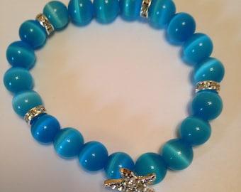 Blue Cat's Eye Starfish Bracelet