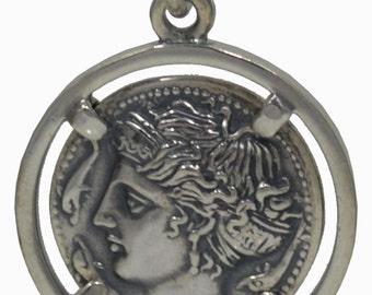 Artemis Silver Pendant - Diana Goddess of Hunt