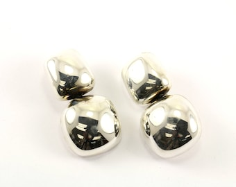 Vintage Mexico Cushion Shape Mirror Finish Clip On Earrings 925 Sterling ER 699-E
