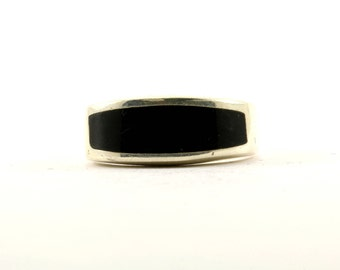 Vintage Rectangle Onyx Front Band Signet Ring 925 Sterling Silver RG 1859-E