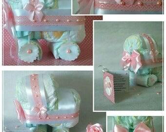 Diaper baby girl pink n white stroller