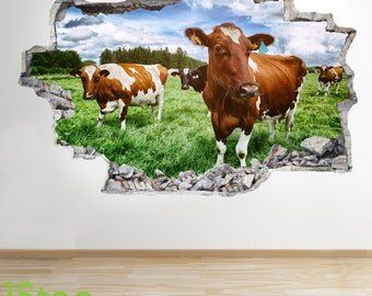 Cow Wall Sticker 3d Look - Bedroom Lounge Nature Farm Yard Wall Decal Z62
