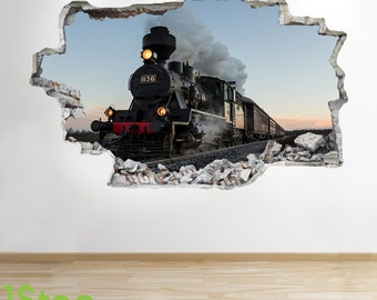 Steam Train Wall Sticker 3d Look - Boys Kids Bedroom Train Wall Decal Z203