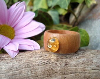 Apple Amber Ring (7 1/4) Acceptance/Amber Ring/Apple Wood Ring/Wooden Jewelry/Amber Jewelry/Amber/Stone Ring/Nature Ring/Earth Jewelry/Gaia