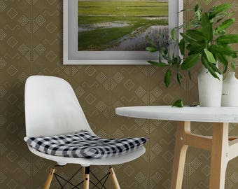 Rhombus Wallpaper, Minimalistic Wallpaper, Rhombus Minimalistic Wall Covering, Removable Wall Paper, Ram Horns Mural Wall