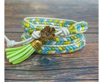 Beaded Wrap Bracelet - Wrap Bracelet - Green Bracelet - Summer Bracelet - Beaded Bracelet - Boho Jewelry - Gift for Her - Bohemian Bracelet