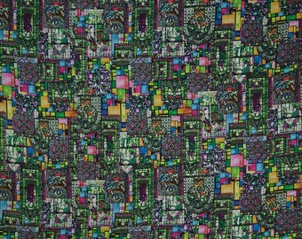 """Satin Fabric, Abstract Digital Print, Multicolor Fabric, Sewing Material,  Dress Making Fabric, 44"""" Inch Fabric By The Yard FSS237A"""