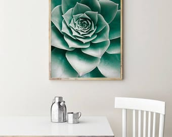Succulent Print - Cactus Wall Art, Digital Download, Printable Art, Mint Green, Aloe Print, Botanical Printable, Modern Poster, Greenery Art