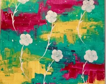 Acrylic paint - flowers of snow 2