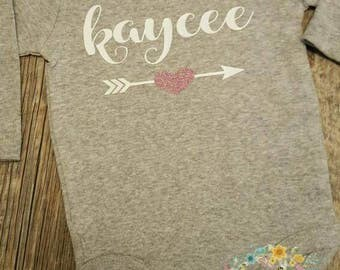 Preemie, Newborn, Baby Girl, Toddler, Girls, Personalized, Monogramed Name, Shirt or Bodysuit with Heart and Arrow