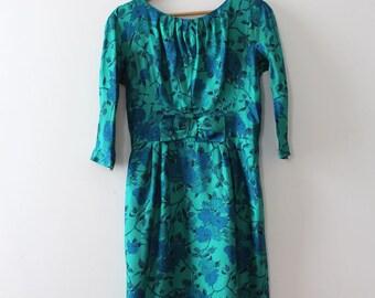 vintage 1960s silk dress // 60s novelty roses evening dress