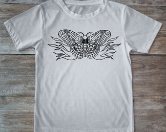 Moth shirt, tattoo moth, insect shirt, insect tee, tattoo shirt, classic tattoo art, old school shirt, hipster gift, gift for tattoo lovers