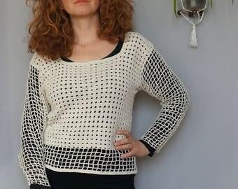 Openwork blouse/sweater in natural linen colour crochet handmade