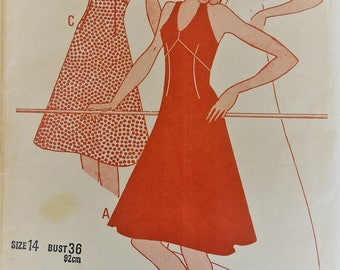 Vintage Woman's Weekly sewing pattern B570 - halter neck sundress size14