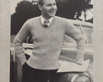Vintage 1950's Patons Knitting Book no. 361 - 8 patterns for men