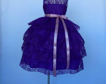 Purple Sleeveless Lace Ruffle Dusty Rose Belt Flower Girl Gown Wedding Bridesmaid Recital Elegant Cottage Valentines Summer Winter Junior