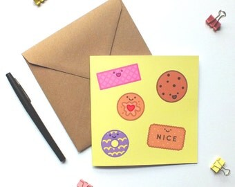 Happy biscuits card. Birthday card. Anniversary card. I love you card. Just because card. Cute kawaii biscuit card. Biscuit lovers.