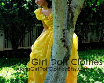 Classic Belle Princess Costume Gown Dress for Girls Teens Adults