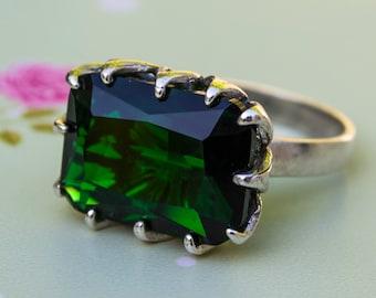 Silver 925 Ring, Alternative Ring, Cubic Zirconia, Big Zircon Ring, Sterling Silver Ring, Square Green Ring, Green Jewelry, Big Silver Ring