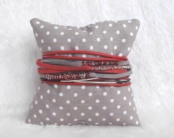 Leather Wrap bracelet set red black grey silver