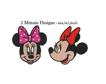 Minnie Mouse Embroidery Design - 2 designs - Minnie Mouse 4x4, 5x7, 6x10 instant download