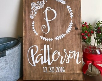 """Custom Name Sign -Last Name wedding date Sign - Handpainted Meelywed Sign 16"""" x 11.25"""" - Wooden Handpainted Last Name Sign"""