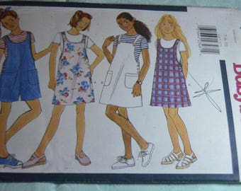 Butterick 4465 Girls Jumper and Romper Sewing Pattern - UNCUT - Size 7 8 10