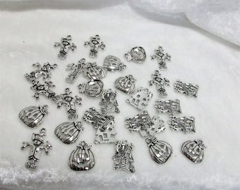 Halloween charms, pumpkins, jack o lanterns, haunted houses, scarecrow, set of 30 halloween charms, antique silver finish, 7-20