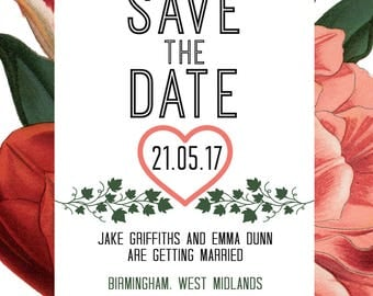 Floral Border - Save the date cards