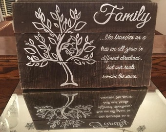 Family Sign, Rustic Family Tree Sign, Custom Family Tree Sign, Hand Painted Tree Art, Gift for Family, Gift for Her, Gift for Him