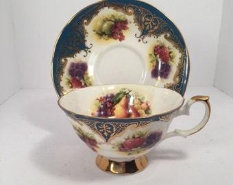 Elizabethan Staffordshire Fruit Teacup and Saucer