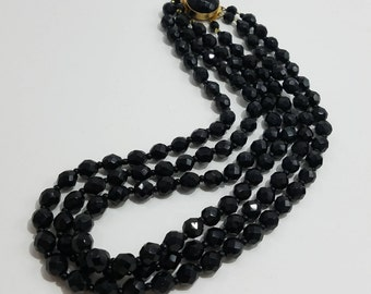 Gorgeous Jet Black Triple Strand Beaded Mourning Necklace