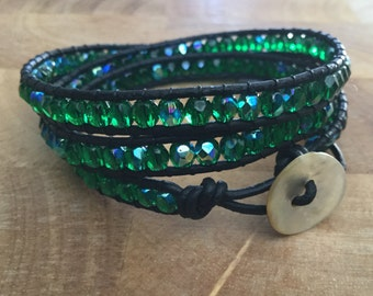 Green Sea glass and leather wrap bracelet