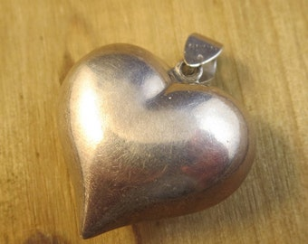 Vintage Puffy Heart Necklace Pendant Sterling Silver 925